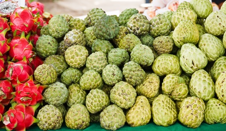 asian produce: The Custard apple Stock Photo