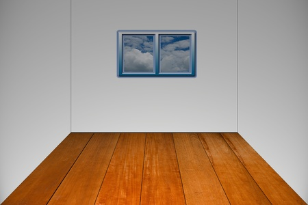 Empty white wall and wooden floor  photo