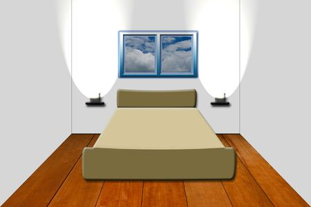 bedroom with  on wood floor Stock Photo - 10632318