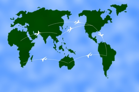 divert: Flight path of aircraft. Stock Photo