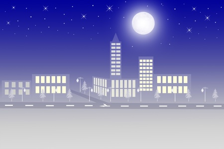 sights: Night scenery of city with moon