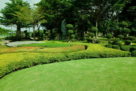 Peaceful Garden with a Freshly Mown Lawn  photo
