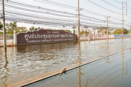 no correr: Bangkok, Tailandia - 14 de noviembre: La calle en frente de Thammasat University, Campus Rangsit ha estado inundando la Internet ya que el coche no se puede ejecutar al 14 de noviembre de 2011 en la Universidad de Thammasat Rangsit, Bangkok, esta es la peor inundaci?n en la historia o