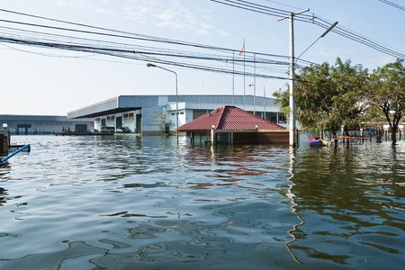Bangkok, Thailand - November 25: The plant in Nava Nakorn Industrial area was flooded for 1 month - November 25, 2011 at Nava Nakorn Industrial area in Pathum Thani, Bangkok. Editorial