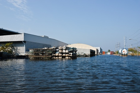 Bangkok, Thailand - November 25: The plant in Nava Nakorn Industrial area was flooded for 1 month - November 25, 2011 at Nava Nakorn Industrial area in Pathum Thani, Bangkok.