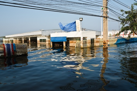 Bangkok, Thailand - November 25: The plant in Nava Nakorn Industrial area was flooded for 1 month - November 25, 2011 at Nava Nakorn Industrial area in Pathum Thani, Bangkok. Stock Photo - 11542414