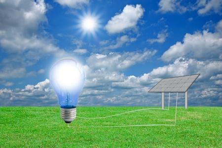 solarpower: Solar energy panels against sunny sky.  Stock Photo