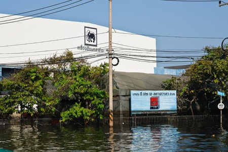 Bangkok, Thailand - November 25: The plant in Nava Nakorn Industrial area was flooded for 1 month - November 25, 2011 at Nava Nakorn Industrial area in Pathum Thani, Bangkok. Stock Photo - 11729237