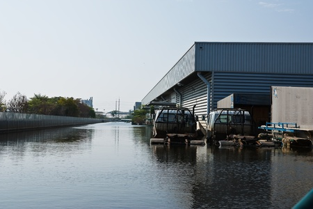 Bangkok, Thailand - November 25: The plant in Nava Nakorn Industrial area was flooded for 1 month - November 25, 2011 at Nava Nakorn Industrial area in Pathum Thani, Bangkok. Stock Photo - 11729224