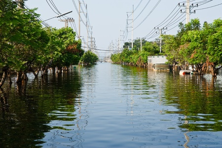 Bangkok, Thailand - November 25: The plant in Nava Nakorn Industrial area was flooded for 1 month - November 25, 2011 at Nava Nakorn Industrial area in Pathum Thani, Bangkok. Editorial