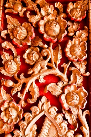 Pattern carved on wood background photo