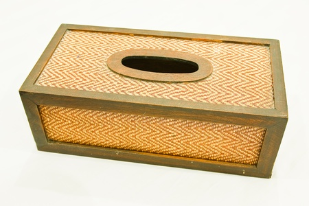 Tissue paper box made by basketry bamboo photo