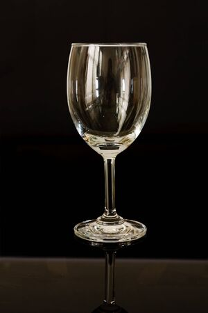 single empty wine glass photo