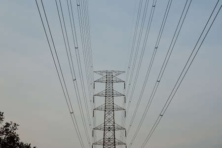high tension: High voltage towers. Stock Photo