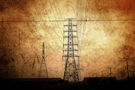 high tension: High voltage towers  Stock Photo