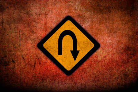 u turn sign:  Road warning signs with grunge texture  Stock Photo