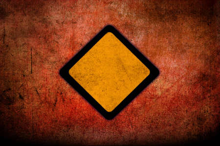 Road warning signs with grunge texture  photo