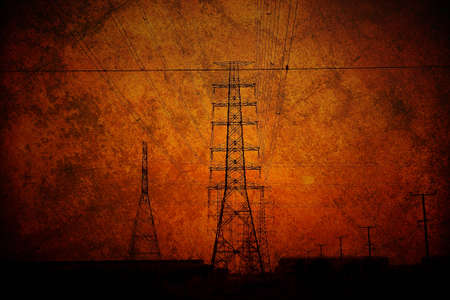 high tension: high voltage, industrial grunge background  Stock Photo