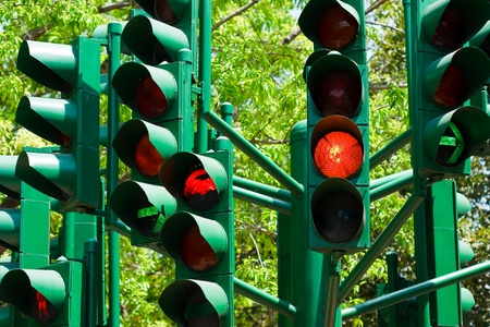road to change: traffic light in all combinations  Stock Photo