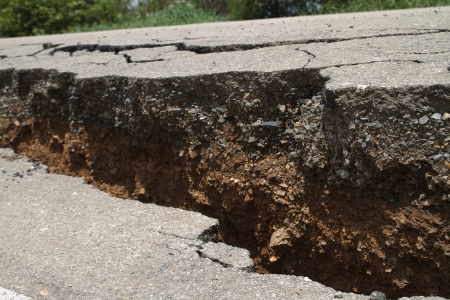 The road has cracks  Stock Photo - 13734874
