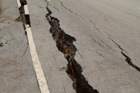 road surface: The road has cracks  Stock Photo