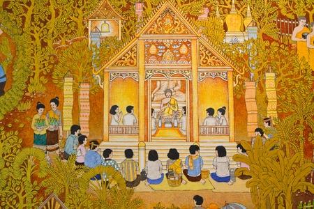 pent of Thai style art in thai temple