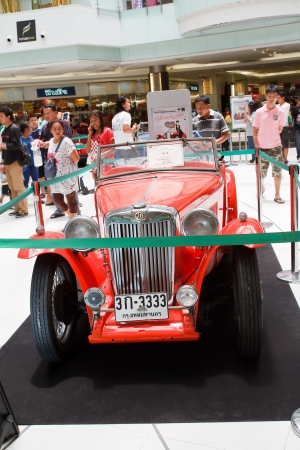 classical mechanics: BANGKOK - JUNE 24   MG TB  1939 year, Vintage cars on display in Future park shopping center to celebrate the 36Th vintage car event on June 24, 2012 in Bangkok, Thailand