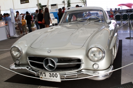 classical mechanics: BANGKOK - JUNE 24   Mercedes-Benz 300SL, Vintage cars on display in Future park shopping center to celebrate the 36Th vintage car event on June 24, 2012 in Bangkok, Thailand