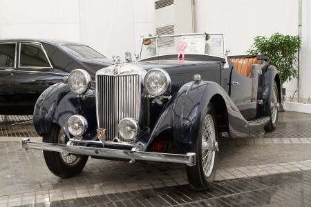 classical mechanics: BANGKOK - JUNE 24 : MG VA, Vintage cars on display in Future park shopping center to celebrate the 36Th vintage car event on June 24, 2012 in Bangkok, Thailand. Editorial
