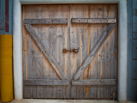 Wooden farm gate. Stock Photo