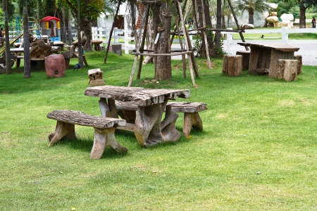 Benches in the lawn. photo