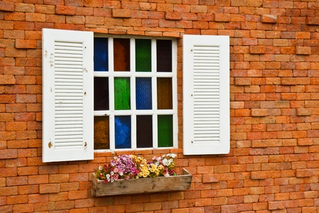 Window with flower pots. photo