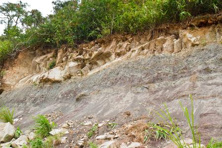 mud slide: Rock slides along the street,thailand