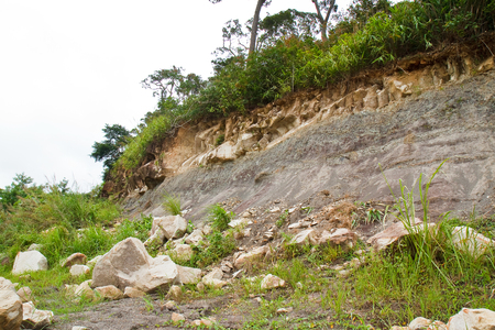 land slide: Rock slides along the street,thailand