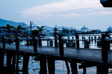 bao: Ships near the pier  Bang Bao village  Koh Chang island  Stock Photo