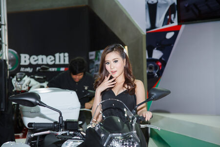 BANGKOK - MARCH 30   Unidentified model with Benelli on display at The 35th Bangkok International Motor Show on March 30, 2014 in Bangkok, Thailand