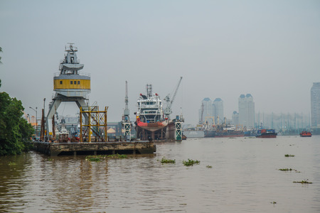 The landscape of Saigon: Port of Ho Chi Minh City. biên tập