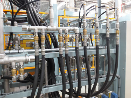 Hydraulic lines in the industry.