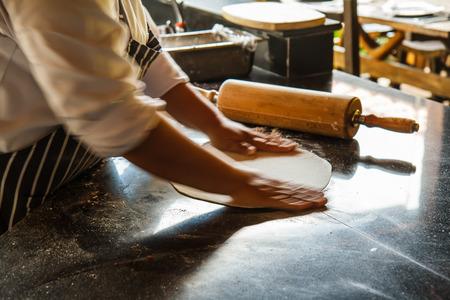 preparing dough: pizza dough