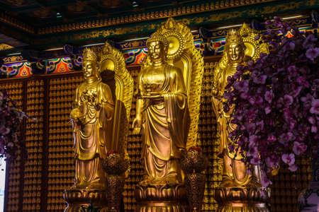Buddha statues Wat Borom Racha Kanchana Phisake (Wat Leng Noei Yi 2)  in Thailand. It is the most famous and largest Chinese Buddhist temple in Thailand. Editorial