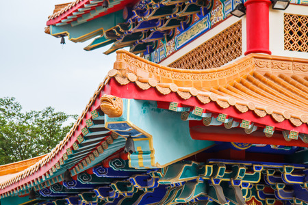 lengnoeiyi: Traditional Chinese style temple at Wat Leng-Noei-Yi in Nonthaburi,Thailand Stock Photo