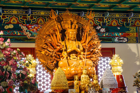 nonthaburi province: Wooden Guan Yin sculpture, holy chinese goddess in Chinese temple  Nonthaburi Province, Thailand