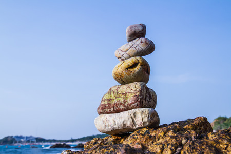 rocks on the coast of the Sea in the nature Stock Photo