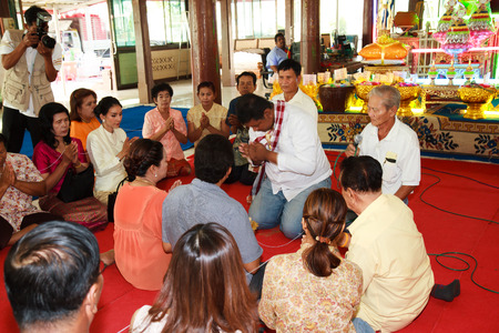 ordain: Bangkok March 1: a series of initiation rites that have changed to the new man at the temple Thailand, Bangkok, Thailand on March 1, 2015. Editorial
