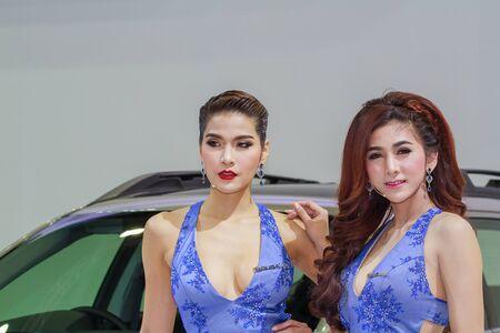 demonstrated: Bangkok, Thailand - April 4, 2015: Subaru booth presenter demonstrated in 36 Bangkok International Motor Show on April 4, 2015.