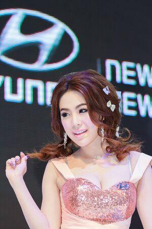 demonstrated: Bangkok, Thailand - April 4, 2015: Hyundai booth presenter demonstrated in 36 Bangkok International Motor Show on April 4, 2015.