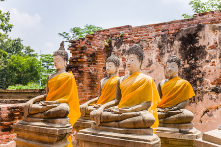 effigy: The ancient Buddha over 500 years is full of spirit and attractive for Thai people to worship at Putthaisawan temple in Ayutthaya,Thailand