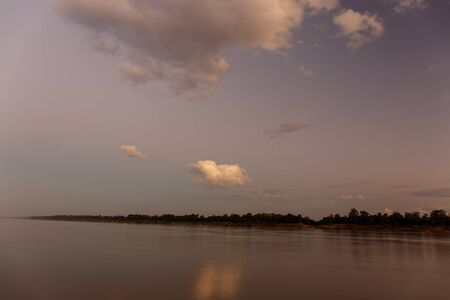 occur: Color of the sky that morning Mekong River Ubon Ratchathani, Thailand.