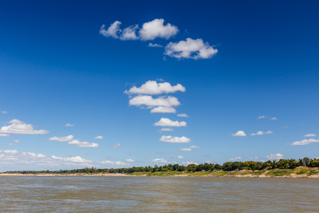 mekong: Sky and river On the bright sky along the Mekong Thailand. Stock Photo