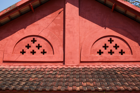 gabled: Old red brick gabled roof. Stock Photo